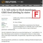 Reuters' Gillam earns failing grade, again, for coverage of GMO science issues